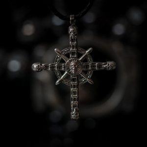 biker chain cross pendant - front