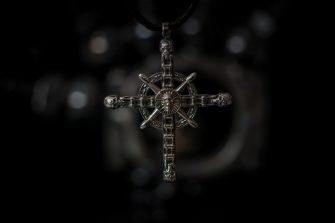 biker chain cross pendant - front