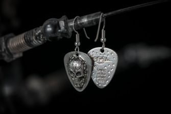 Tattoo Skull Earrings front and back