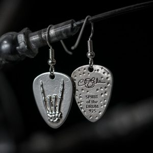 Rock Hand Guitar Pick Earrings Standard Finish