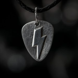 Thunderflash Guitar Pick Pendant front