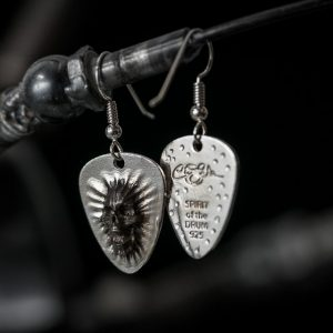 Screaming Skull Guitar Pick Earring Antiqued