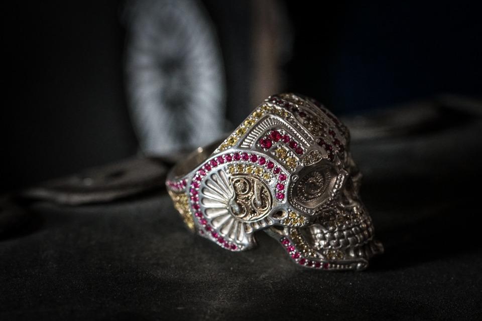 Pave Diamond Skull Ring Gold Vermeil Ring 925 Silver Jewelry Halloween Ring Jewelry Silver Skull Ring Dainty Ring Ruby Eye Skull Ring